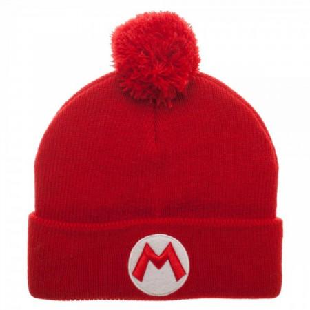 Nintendo Super Mario Bros. Logo Red Winter Pom Beanie