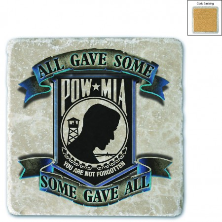 POW All Gave Some Blue Stone Coaster