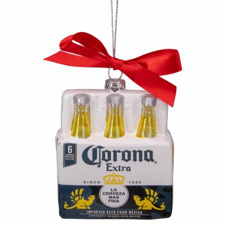 Corona Extra Set of 6 Corona Six Pack Glass Christmas Ornaments