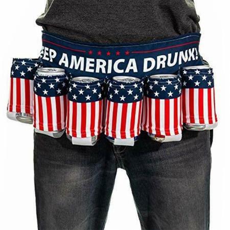 American Flag Keep America Drunk USA Beer Belt