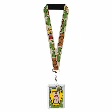 Mandalorian Boba Fett Character Armor Charm Badge Holder Lanyard